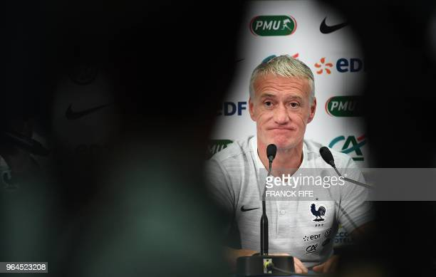 TOPSHOT France's national football team head coach Didier Deschamps attends a press conference at the Allianz Rivieira stadium in Nice on May 31 on...