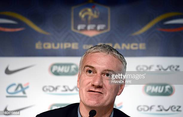 France's national football team head coach Didier Deschamps gives a press conference on January 31 2013 to announce the squad for the friendly...