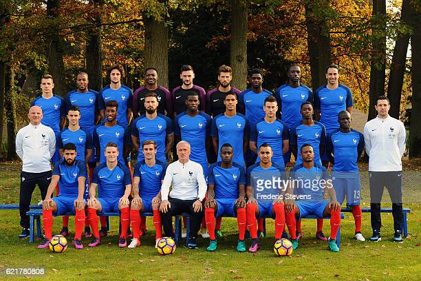 France's national football team members pose during the official presentation 2016-2017 pictures at the french training center. Back Row defender...