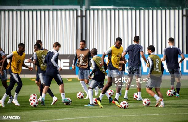France's national football team players are seen during training session ahead of the World Cup 2018 final match against Croatia in Moscow Russia on...