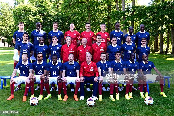 France's national football team players defender Laurent Koscielny midfielder Moussa Sissoko forward Olivier Giroud goalkeepers Stephane Ruffier Hugo...