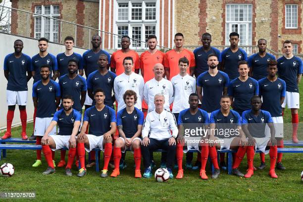 France's national football team players pose for a photo back row Tanguy Ndombele Layvin Kurzawa Benjamin Pavard Moussa Sissoko Steve Mandanda Hugo...
