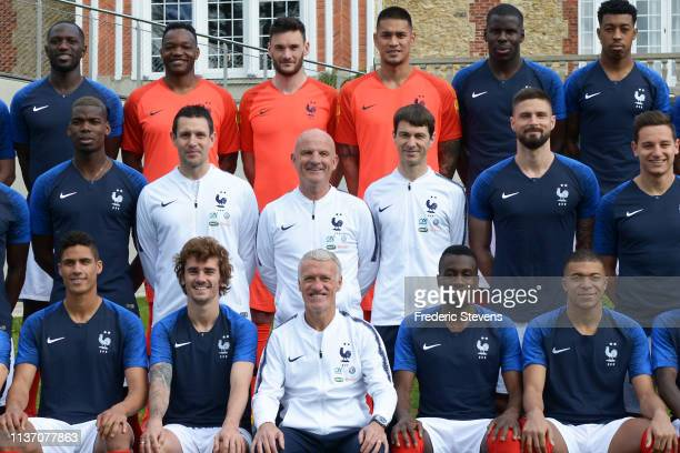 France's national football team players pose for a photo back row Moussa Sissoko Steve Mandanda Hugo Lloris Alphonse Areola Kurt Zouma Presnel...