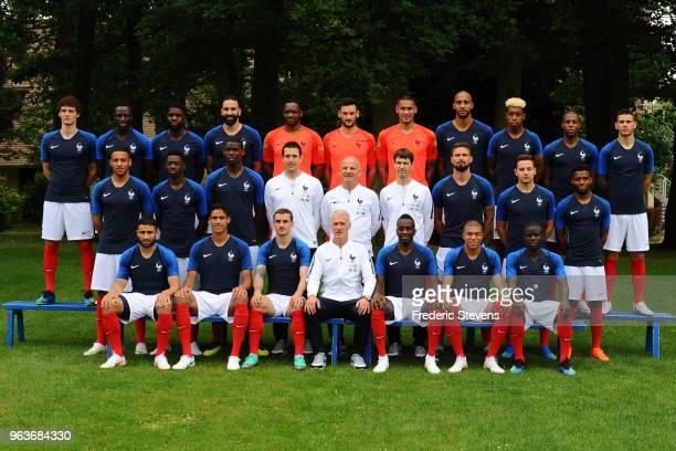 France's national football team players pose for a photo back row Benjamin Pavard Benjamin Mendy Samuel Umtiti Adil Rami Steve Mandanda Hugo Lloris...