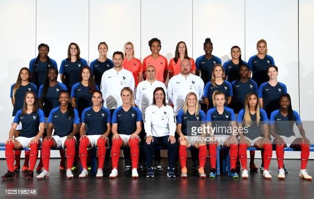France's national football team pose for an official picture on August 29 2018 in ClairefontaineenYvelines France's forward Kadidiatou Diani...