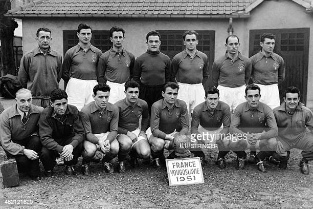 France's national football team pose for the team picture on February 6 1951 at the Parc des Princes in Paris before the football match between...