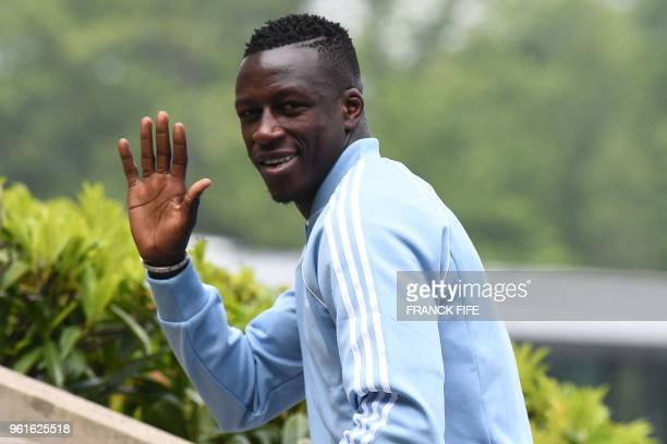 France's national football team's defender Benjamin Mendy arrives at the team's training camp ahead of the 2018 World Cup, on May 23, 2018 at...