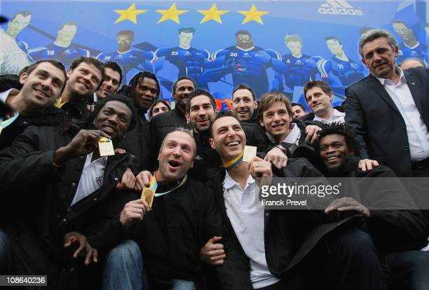 France's national handball team Thierry Omeyer Team Capitain Jerome Fernandez Daouda Karaboué Nicolas Karabatic Xavier Barachet Arnaud Bingo and...