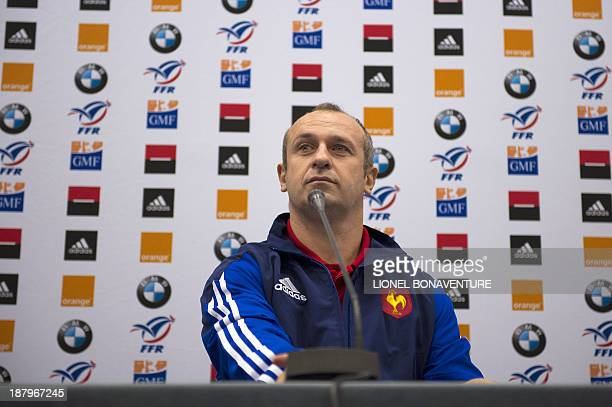 France's national rugby team head coach Philippe Saint-Andre gives a press conference, on November 14, 2013 in Marcoussis, south of Paris, to...