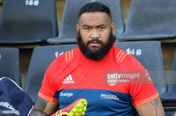 France's national rugby team propr Uini Atonio takes part in a training session at Growthpoint Kings Park Stadium on the eve of their test match...