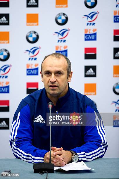 France's national rugby union head coach Philippe Saint Andre speaks during a press conference on November 21, 2013 in Marcoussis, south of Paris, to...