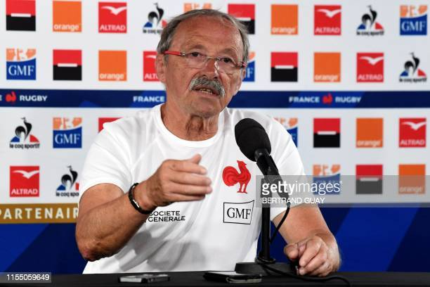 France's national rugby union team coach Jacques Brunel speaks to the press on July 11, 2019 in Marcoussis, ahead of their participation in the Rugby...