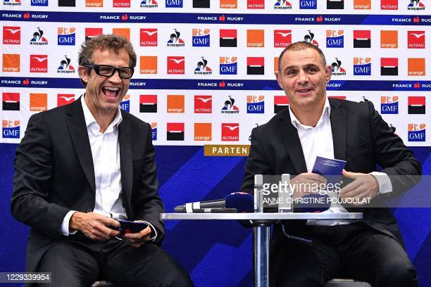 France's national rugby union team head coach Fabien Galthie and team manager Raphael Ibanez give a press conference, on October 29, 2020 in...