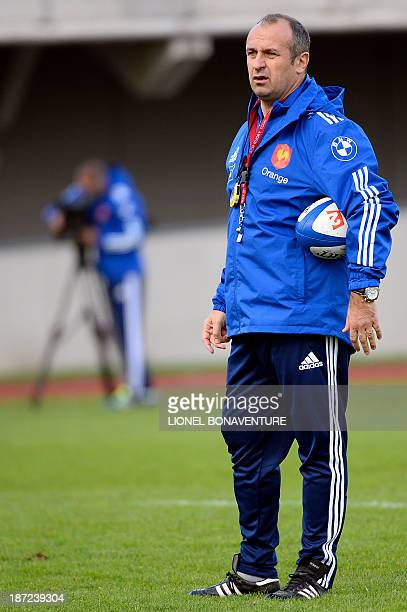 France's national rugby union team head coach Philippe Saint Andre attends a training session on November 7, 2013 in Marcoussis, south of Paris,...
