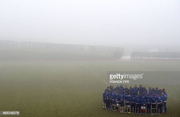 France's national rugby union team players gather during a training session on February 12 2015 in Marcoussis south of Paris two days ahead of the...
