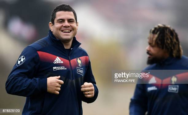 France's national rugby union team prop and captain Guilhem Guirado smiles during a training session on the eve of a friendly rugby union...