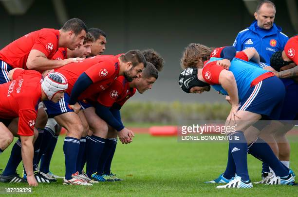 France's national rugby union team scrum players attend a training session on November 7, 2013 in Marcoussis, south of Paris, ahead of test matches...