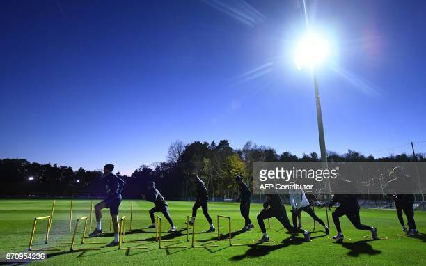 France's national team players take part in a training session in Clairefontaine-en-Yvelines near Paris on November 6 as part of the team's...