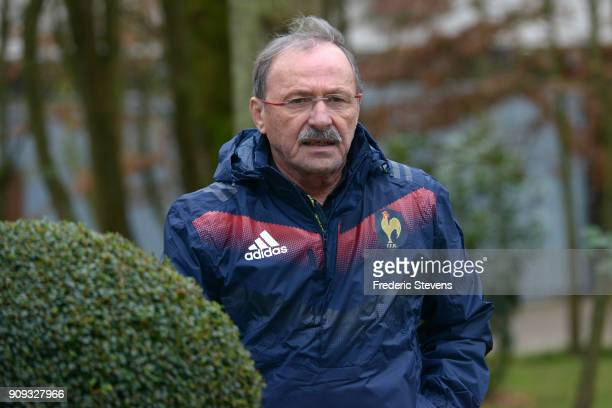France's new head coach Jacques Brunel arrives for a training session at National center of French Rugby on January 23 2018 in Marcoussis France...