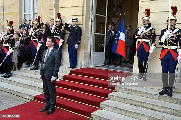 France's newly appointed Prime minister Manuel Valls attends the take over ceremony while power is transferred to Manuel Valls after the resignation...