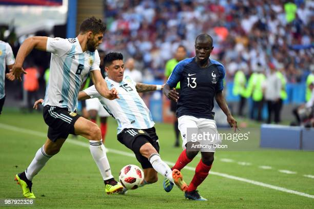 France's Ngolo KANTE and Enzo Perez during the match between France and Argentina at Kazan Arena on June 30, 2018 in Kazan, Russia.