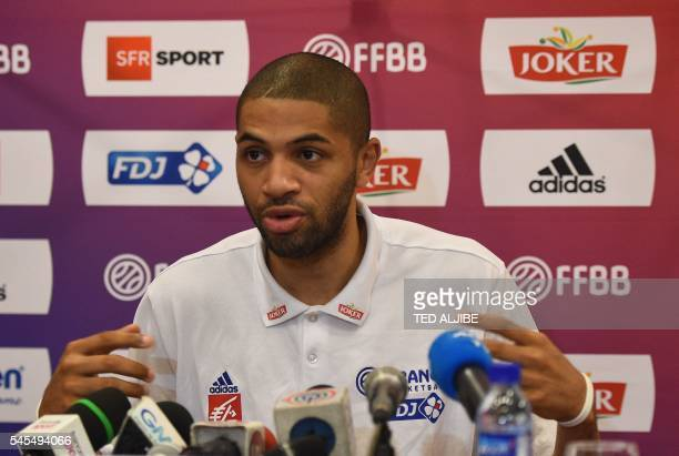 France's Nicolas Batum from the NBA's Charlotte Hornets takes part in a press conference at the 2016 FIBA Olympic men's qualifying basketball...