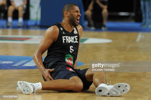France's Nicolas Batum reacts during the 2019 FIBA Basketball World Championship European qualifying group match between France and Finland at The...