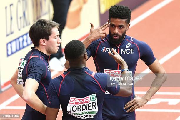 France's Nicolas Courbiere Thomas Jordier and Yoan Decimus react after finishing fourth in the men's 4x400m relay final at the 2017 European...