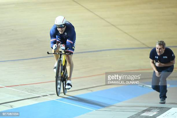 France's Nicolas D'Almeida takes part in the men's one kilometre time trial final during the UCI Track Cycling World Championships in Apeldoorn on...