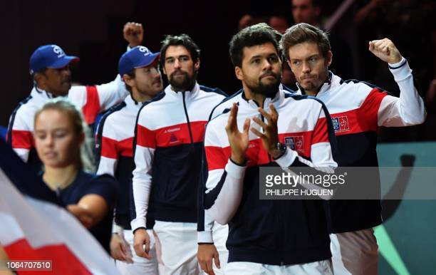 France's Nicolas Mahut France's JoWilfried Tsonga France's Jeremy Chardy France's Lucas Pouille and France's team captain Yannick Noah arrive ahead...