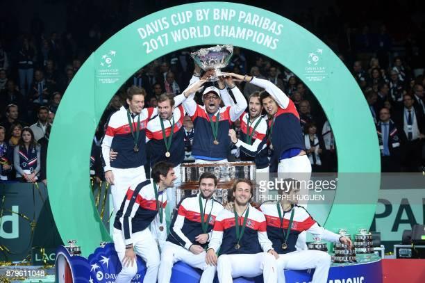 France's Nicolas Mahut Julien Benneteau Yannick Noah Richard Gasquet JoWilfried Tsonga Jeremy Chardy Gilles Simon Lucas Pouille and PierreHugues...