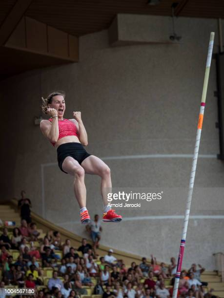 France's Ninon Guillon-Romarin clears the bar as she competes in the women's pole vault at the IAAF Diamond League athletics 'Herculis' meeting at...