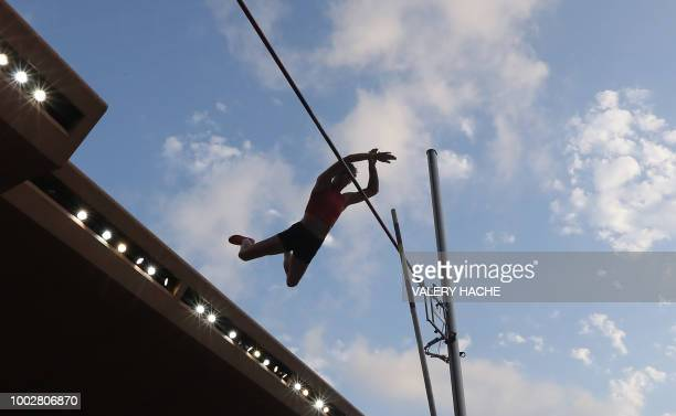 France's Ninon Guillon-Romarin clears the bar in the women's pole vault event during the IAAF Diamond League athletics 'Herculis' meeting at The...