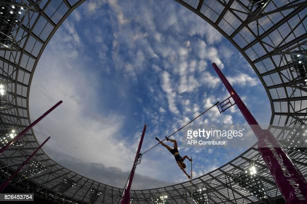 France's Ninon Guillon-Romarin competes in the qualifying round of the women's pole vault athletics event at the 2017 IAAF World Championships at the...