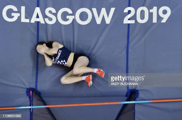 France's Ninon Guillon-Romarin competes in the womens pole vault final at the 2019 European Athletics Indoor Championships in Glasgow on March 3,...