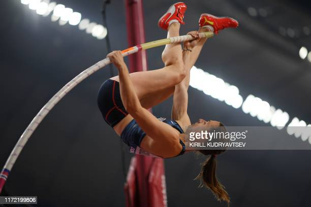 France's Ninon Guillon-Romarin competes in the Women's Pole Vault final at the 2019 IAAF World Athletics Championships at the Khalifa International...