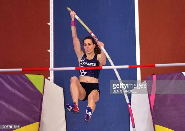 France's Ninon Guillon-Romarin competes in the women's pole vault final at the 2018 IAAF World Indoor Athletics Championships at the Arena in...
