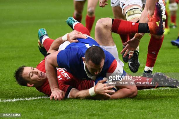 France's number eight Louis Picamoles scores a try during the Six Nations rugby union tournament match between France and Wales at the stade de...