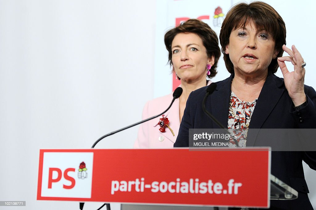 France's opposition Socialist Party (PS) leader Martine Aubry (R) flanked by socialist MP and PS national secretary in charge of pension Marisol Touraine (L) gives a press conference on June 16, 2010 at the party headquarters in Paris to comment on the government pension reform. The French government unveiled plans today to raise the retirement age from 60 to 62 in a sweeping overhaul of the pensions system that several political parties and labour unions immediately vowed to fight.