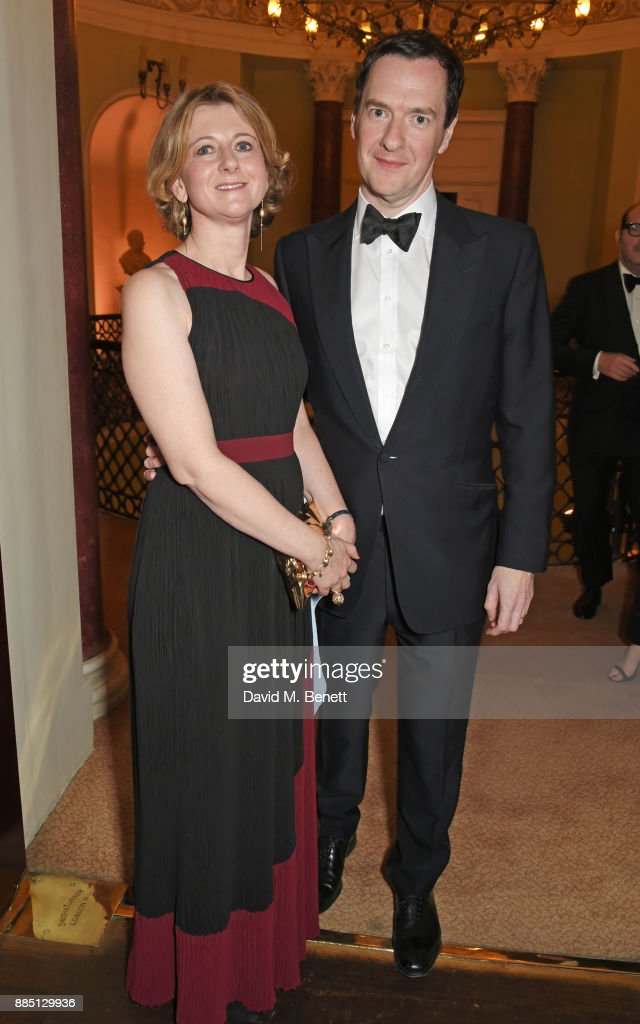 Frances Osborne (L) and George Osborne attend a drinks reception ahead of the London Evening Standard Theatre Awards 2017 at the Theatre Royal, Drury Lane, on December 3, 2017 in London, England.