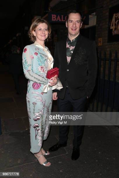 Frances Osborne and George Osborne seen attending Lord Andrew Lloyd Webber's birthday party at The Theatre Royal Drury Lane on March 22 2018 in...