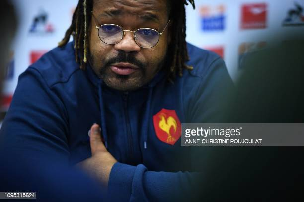 France's outside centre Mathieu Bastareaud answers journalists during a press conference on February 8 2019 in Marcoussis southern Paris