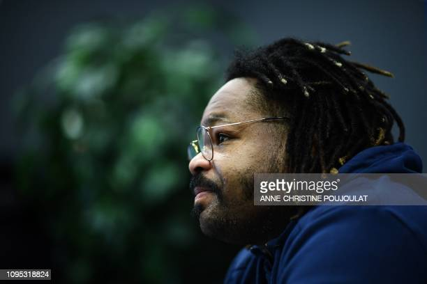 France's outside centre Mathieu Bastareaud answers to journalists during a press conference on February 8 2019 in Marcoussis southern Paris