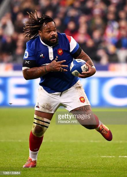 France's outside centre Mathieu Bastareaud runs with the ball during the international rugby union test match between France and Fiji at the Stade de...