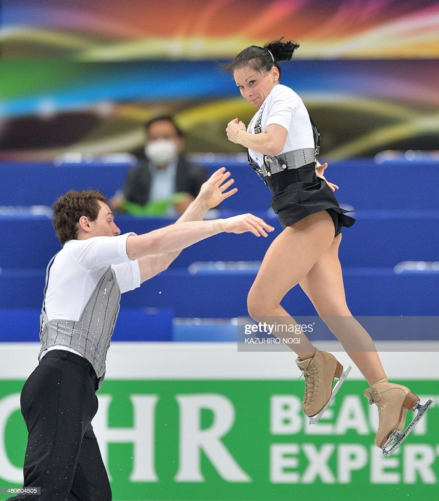 France's pair Daria Popova and Bruno Massot perform during the pairs short program at the world figure skating championships in Saitama, on March 26, 2014.