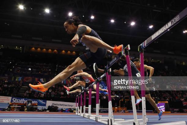 France's Pascal MartinotLagarde competes in the men's 60m hurdles semifinals at the 2018 IAAF World Indoor Athletics Championships at the Arena in...