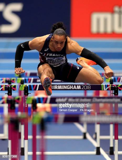 France's Pascal MartinotLagarde on the way to winning the Men's 60m Hurdles Heat 5 during day three of the 2018 IAAF Indoor World Championships at...