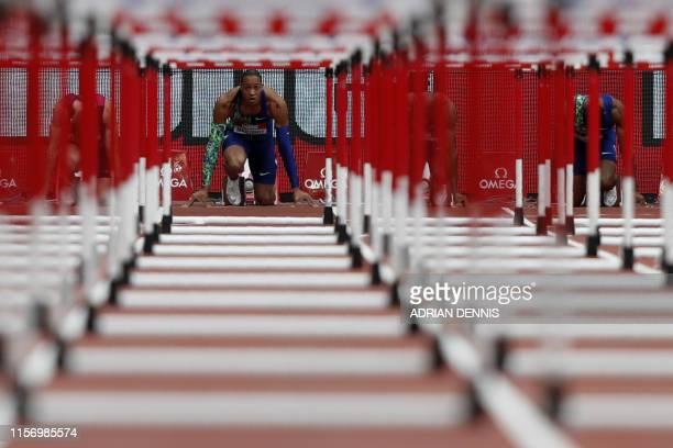 France's Pascal Martinot-Lagarde prepares to compete in the Men's 110m Hurdles event during the the IAAF Diamond League Anniversary Games athletics...