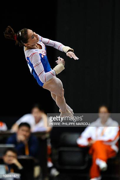 France's Pauline Morel competes in the vault in the Women's qualifying session at the 42nd Artistic Gymnnastics World Championships on October 16...