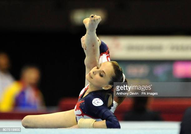 France's Pauline Morel competes on the floor during the Women's Senior Qualification of the European Gymnastics Championships at the National Indoor...
